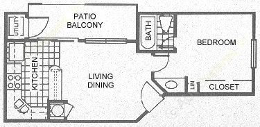 448 sq. ft. A1 floor plan