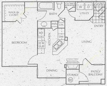 757 sq. ft. A2 floor plan