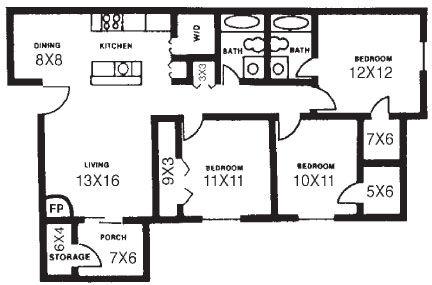 1,130 sq. ft. D floor plan