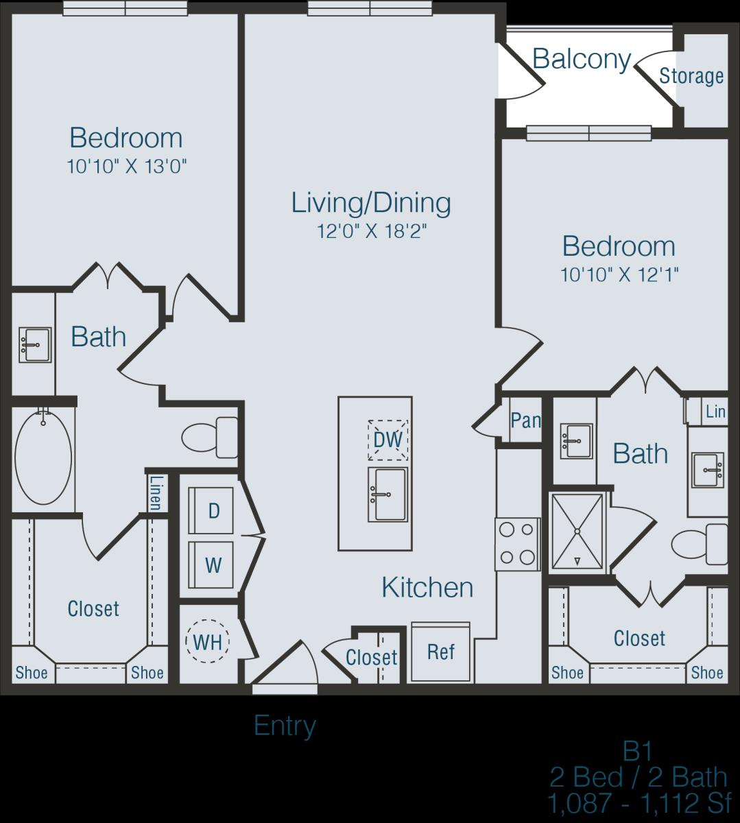 1,106 sq. ft. to 1,112 sq. ft. B1 floor plan