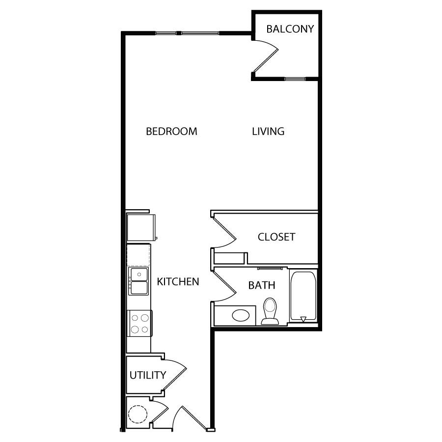 566 sq. ft. E3 floor plan