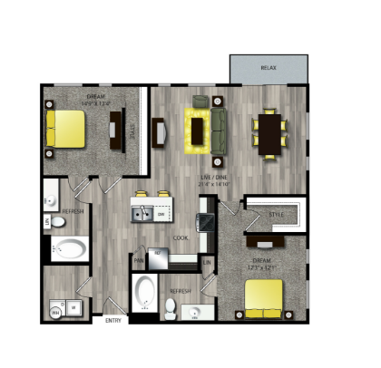 1,161 sq. ft. B5 floor plan