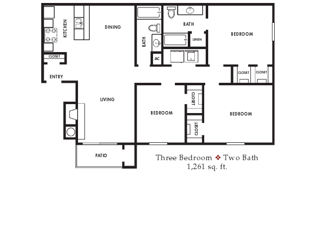 1,261 sq. ft. floor plan
