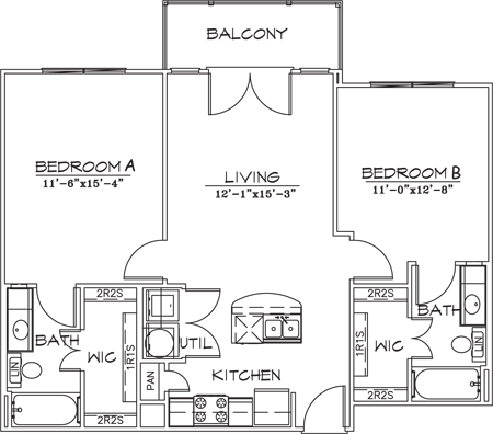 902 sq. ft. floor plan