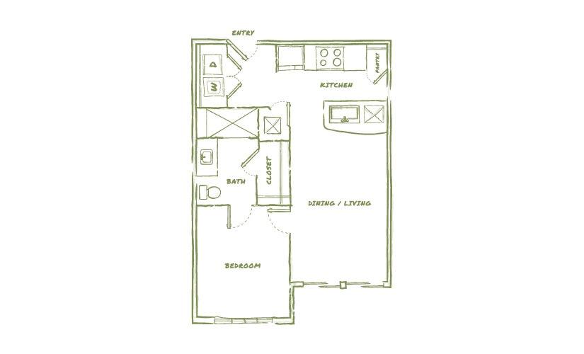 634 sq. ft. A1A floor plan