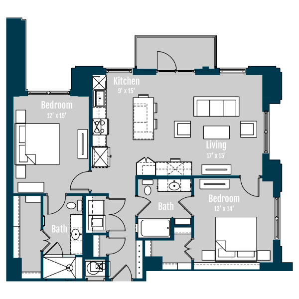 1,297 sq. ft. B2 floor plan
