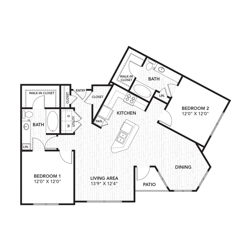 1,239 sq. ft. B6 floor plan