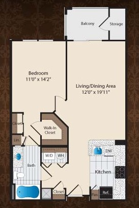 763 sq. ft. A1/Nasher floor plan
