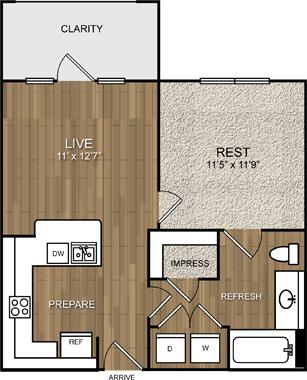 552 sq. ft. A2 floor plan