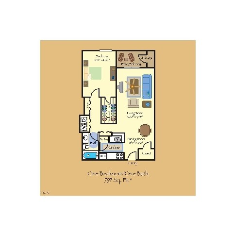797 sq. ft. A5 floor plan