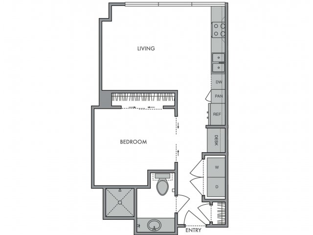 543 sq. ft. A floor plan