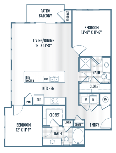 1,168 sq. ft. B2A floor plan