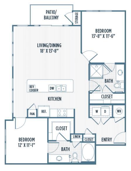 1,168 sq. ft. B2A floor plan