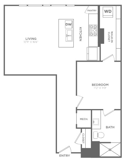 854 sq. ft. TA1 floor plan