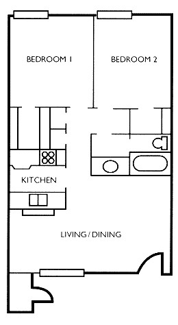 785 sq. ft. Elm floor plan