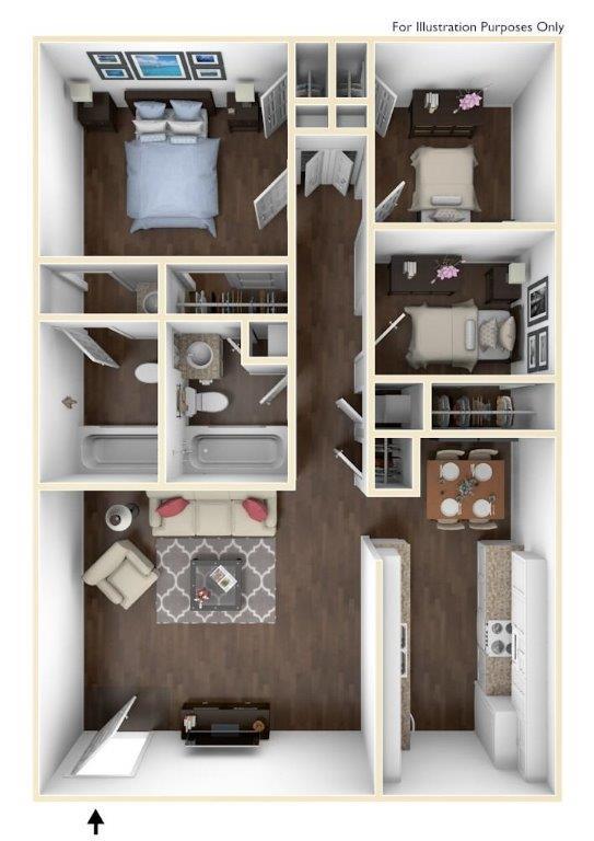 875 sq. ft. C1 floor plan