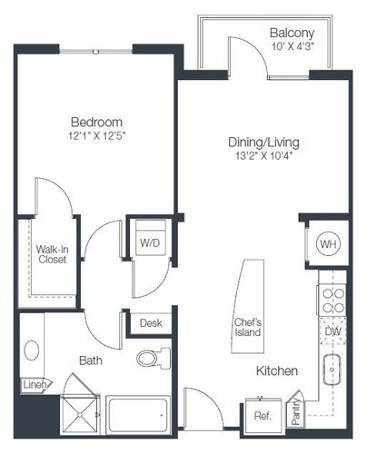 743 sq. ft. A2B floor plan