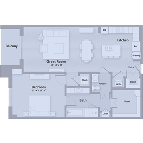 1,024 sq. ft. A1 floor plan