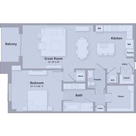 1,024 sq. ft. A1 floor plan
