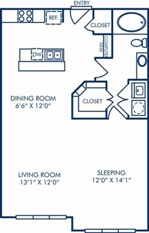 752 sq. ft. A3C floor plan