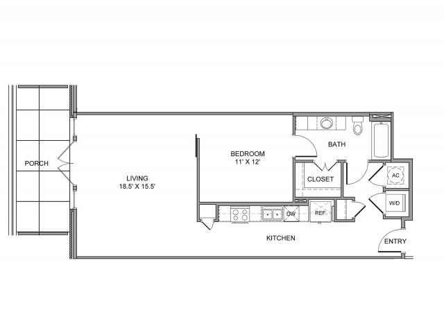 840 sq. ft. Marilla floor plan