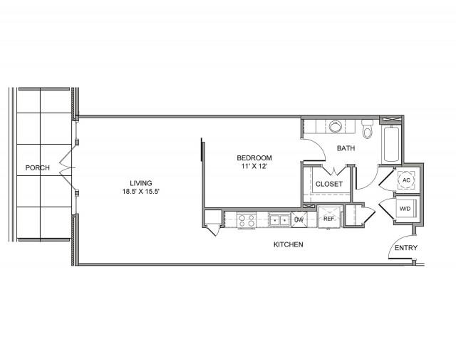 840 sq. ft. Marilla floor plan