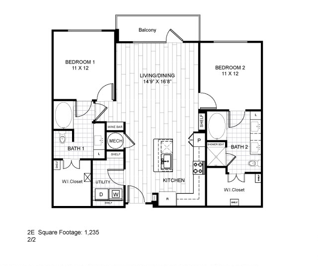1,235 sq. ft. 2E floor plan