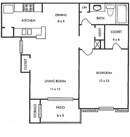 670 sq. ft. B1&B2 floor plan