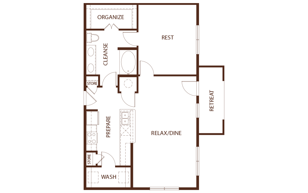 974 sq. ft. A3 floor plan