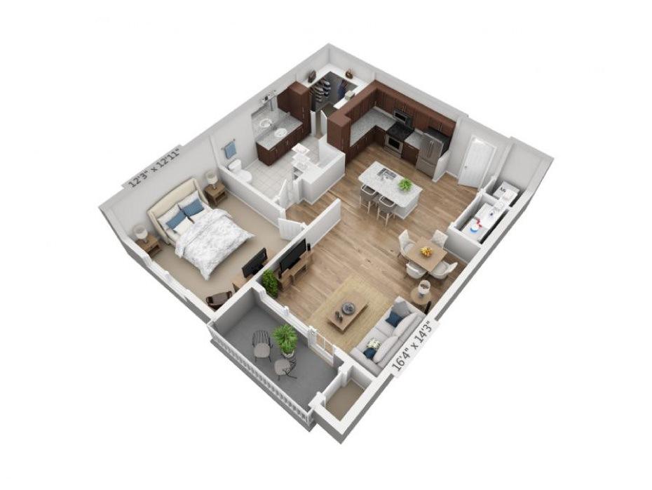 832 sq. ft. A2 floor plan