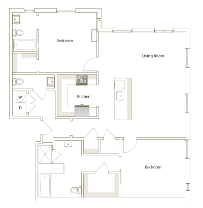 1,277 sq. ft. B2-1 floor plan