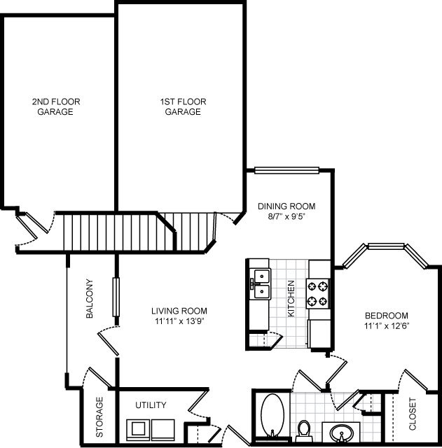 779 sq. ft. A3 1 floor plan