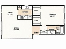 790 sq. ft. A3 floor plan