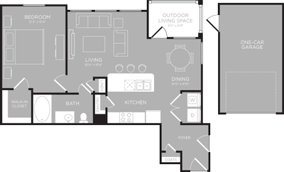 823 sq. ft. Huron floor plan