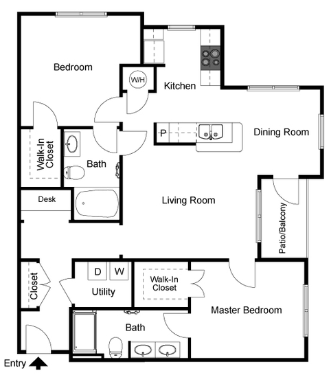 1,225 sq. ft. Goodwyn floor plan