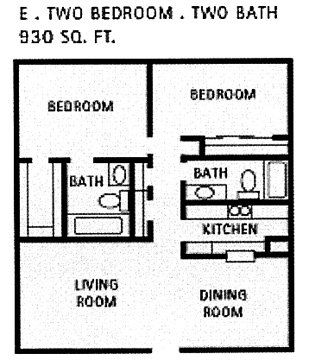 930 sq. ft. E floor plan