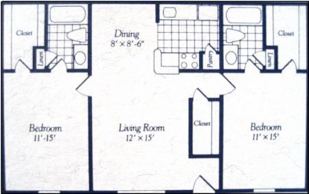 964 sq. ft. floor plan