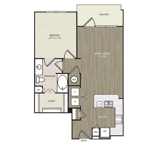 761 sq. ft. A24 floor plan