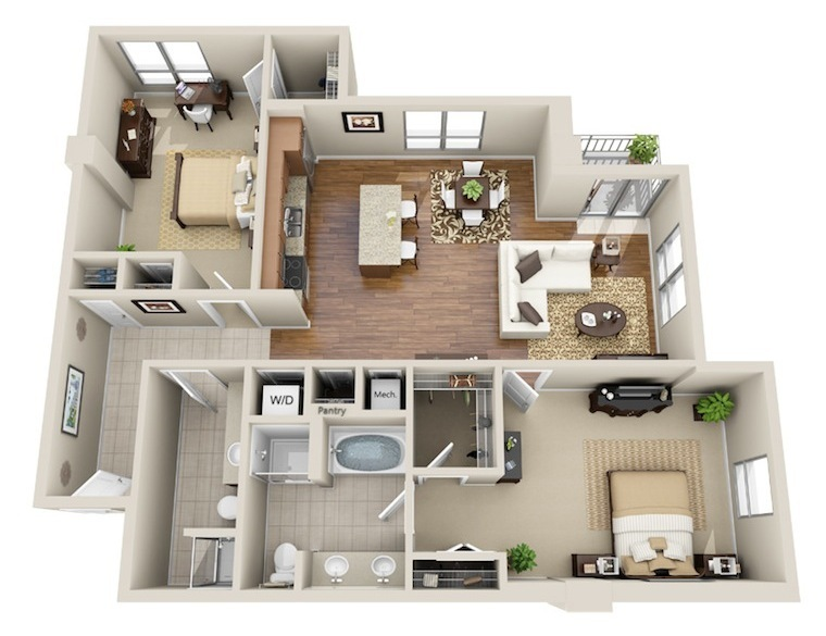 1,273 sq. ft. B5 floor plan