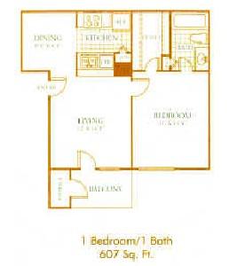 607 sq. ft. A2 floor plan