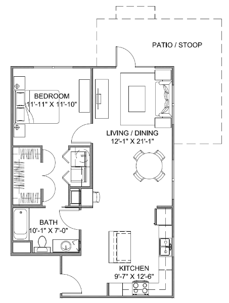 837 sq. ft. Boulevard A 60 floor plan