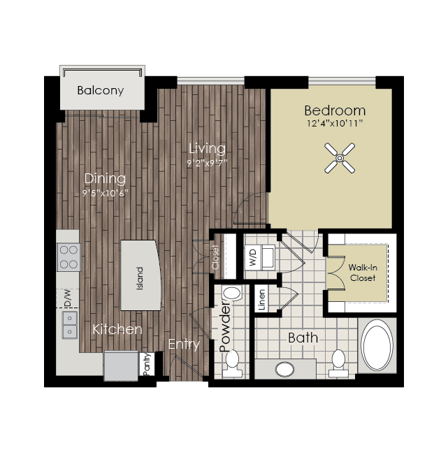 825 sq. ft. A5 floor plan