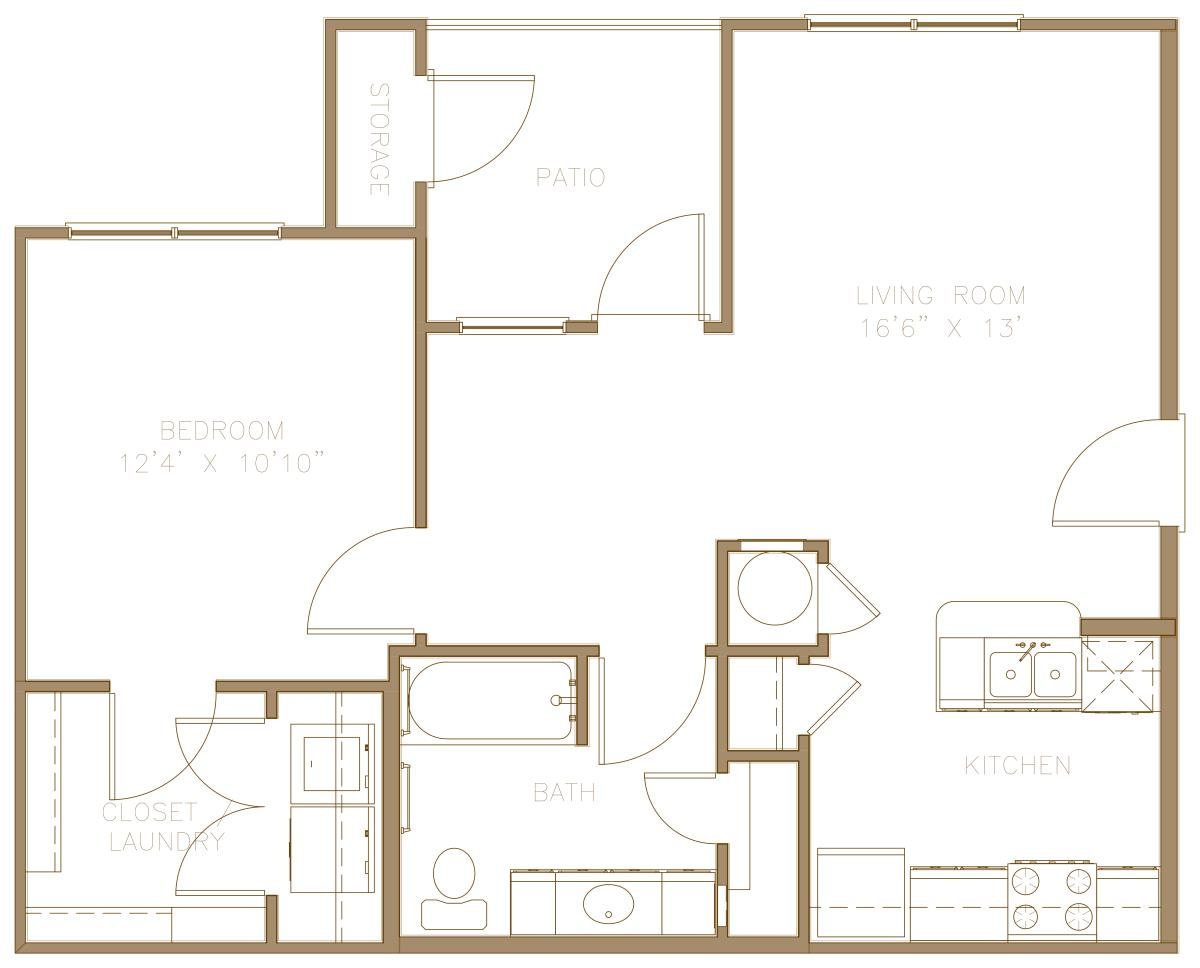 723 sq. ft. 60% floor plan