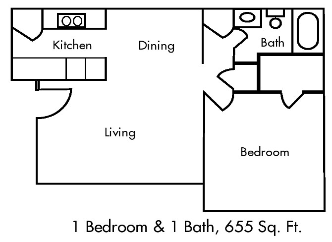 655 sq. ft. PH I/50% floor plan