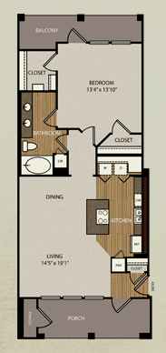 832 sq. ft. A5a floor plan