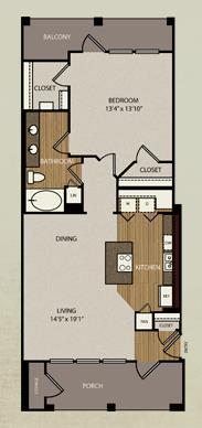 832 sq. ft. A5a floor plan