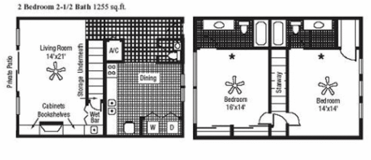1,255 sq. ft. floor plan