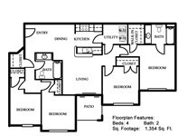1,354 sq. ft. 50% floor plan