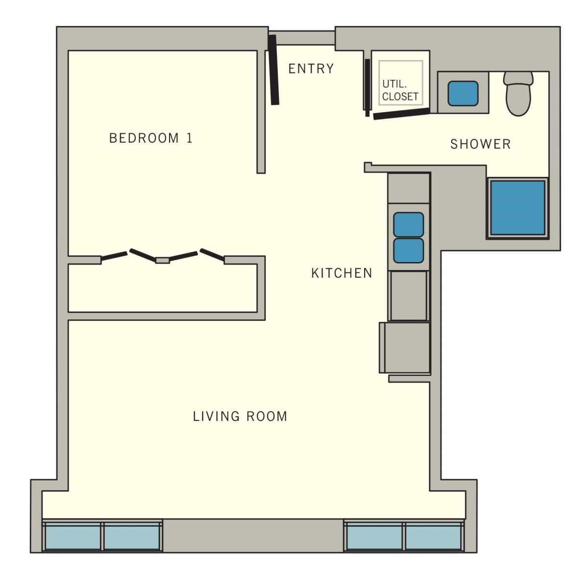 523 sq. ft. D2 floor plan