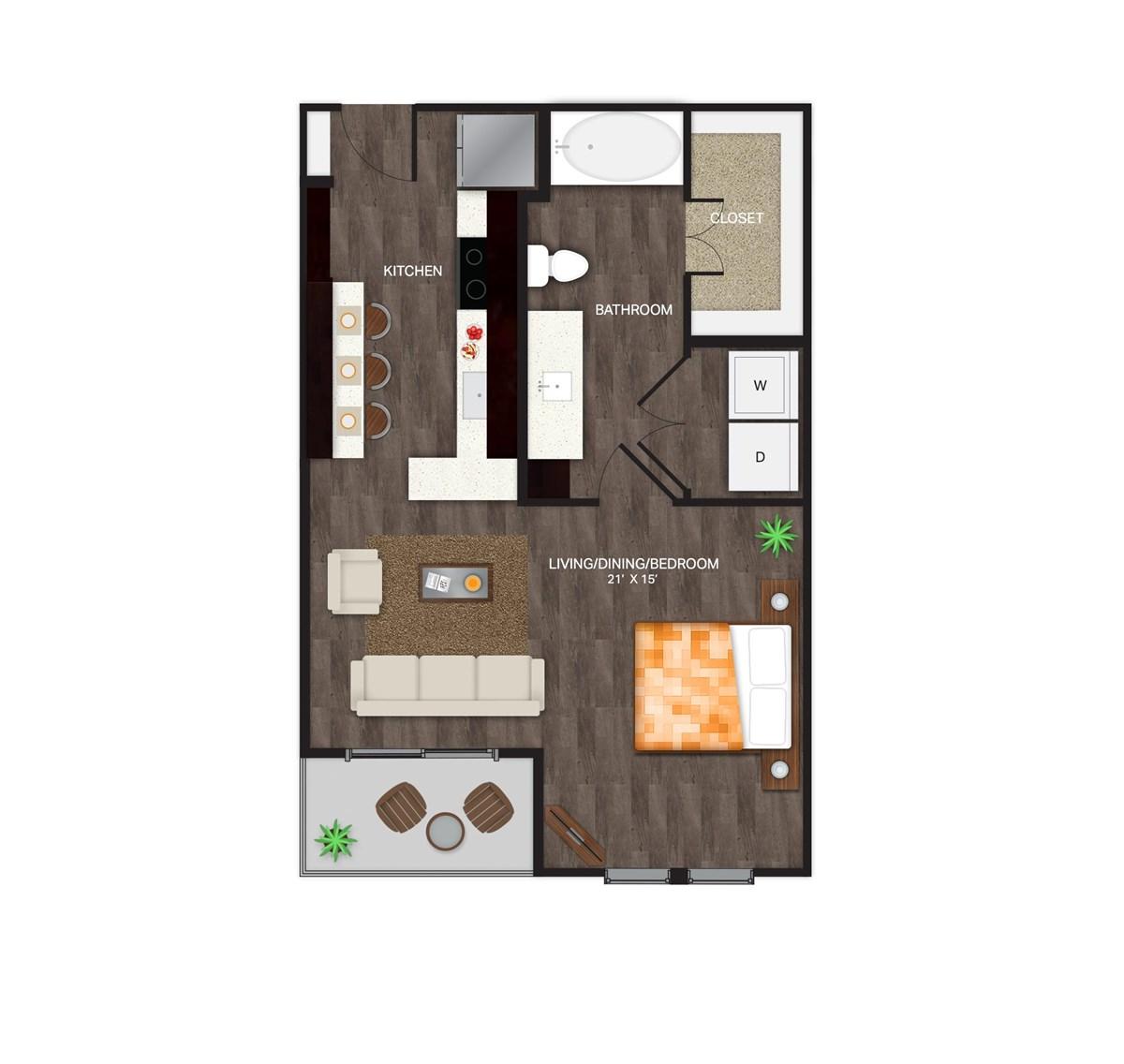 672 sq. ft. S-2F floor plan